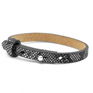 Cuoio bracelets leather 8mm for 12mm cabochon Snake Black-White