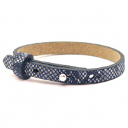 Cuoio bracelets leather 8mm for 12mm cabochon Snake Indigo Blue