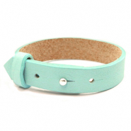 15mm leather Cuoio bracelets for 20mm cabochon Bleached Aqua Blue