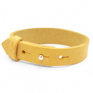 15mm leather Cuoio bracelets for 20mm cabochon Mineral Yellow