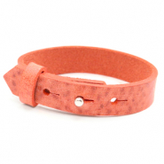 15mm leather Cuoio bracelets for 20mm cabochon Living Coral Red