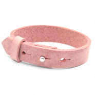15mm leather Cuoio bracelets for 20mm cabochon Pressed Rose Red