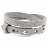 Cuoio bracelets leather 8mm double for 12mm cabochon Concrete Grey