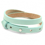 Cuoio bracelets leather 8mm double for 12mm cabochon Bleached Aqua Blue
