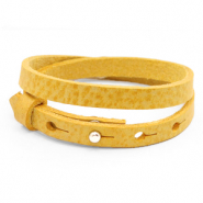 Cuoio bracelets leather 8mm double for 12mm cabochon Mineral Yellow