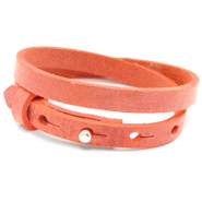 Cuoio bracelets leather 8mm double for 12mm cabochon Living Coral Red
