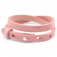 Cuoio bracelets leather 8mm double for 12mm cabochon Pressed Rose Red
