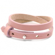 Cuoio bracelets leather 8mm double for 12mm cabochon Rose Dawn Pink
