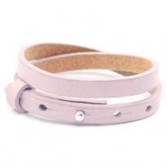 Cuoio bracelets leather 8mm double for 12mm cabochon Light Orchid Pink