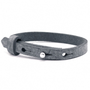 Cuoio bracelets leather 8mm for 12mm cabochon Anthracite Black
