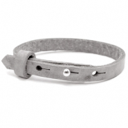 Cuoio bracelets leather 8mm for 12mm cabochon Concrete Grey