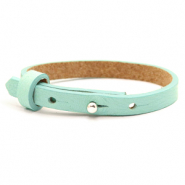 Cuoio bracelets leather 8mm for 12mm cabochon Bleached Aqua Blue