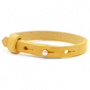 Cuoio bracelets leather 8mm for 12mm cabochon Mineral Yellow