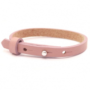 Cuoio bracelets leather 8mm for 12mm cabochon Rose Dawn Pink