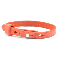 Leather Cuoio kids bracelet 8mm for 12mm cabochon Living Coral Red