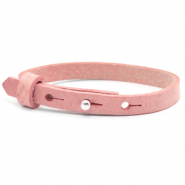 Leather Cuoio kids bracelet 8mm for 12mm cabochon Pressed Rose Red