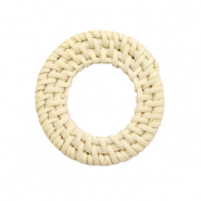 Braided rattan pendants round 30mm Naturel Beige