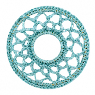 Crochet pendants round 54mm Mosaic Blue