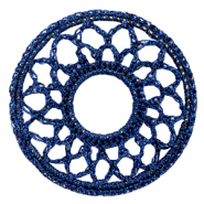 Crochet pendants round 54mm Denim Blue