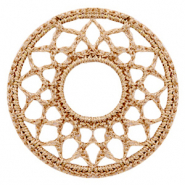 Crochet pendants round 54mm Gold