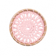 Crochet pendants round 33mm Gold-Light Pink