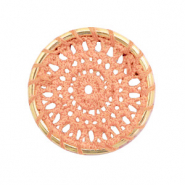 Crochet pendants round 33mm Gold-Peachy Orange
