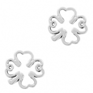DQ European metal charms connector clover Antique Silver (nickel free)