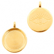 DQ European metal charms eye round 20mm Gold (nickel free)