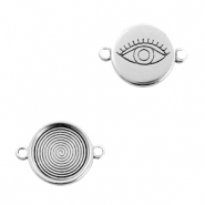 DQ European metal charms connector eye round 16mm Antique Silver (nickel free)