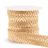 Elastic ribbon Art Deco Camel Brown-Gold