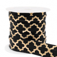 Elastic ribbon Moroccan pattern Black-Gold