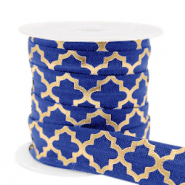 Elastic ribbon Moroccan pattern Dark Blue-Gold