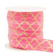 Elastic ribbon Moroccan pattern Rouge Pink-Gold