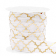 Elastic ribbon Moroccan pattern White-Gold
