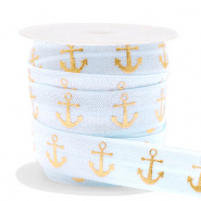 Elastic ribbon anchor Light blue-gold