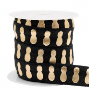 Elastic ribbon pineapple Black-Gold