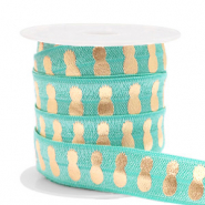 Elastic ribbon pineapple Turquoise-Gold