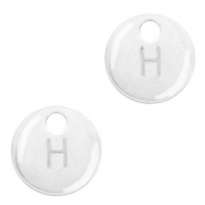 Metal charms initial H Antique Silver (nickel free)