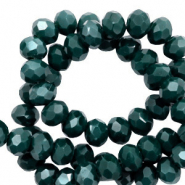 Top faceted beads 8x6mm disc Deep Green-Pearl Shine Coating