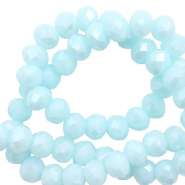 Top faceted beads 6x4mm disc Island Paradise Blue-Pearl Shine Coating
