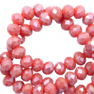 Top faceted beads 4x3mm disc Vintage Coral Red-Pearl Shine Coating