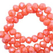 Top faceted beads 6x4mm disc Tigerlily Coral Red-Pearl Shine Coating
