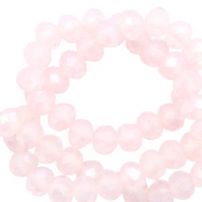 Top faceted beads 6x4mm disc Silk Peach Opal-Pearl Shine Coating