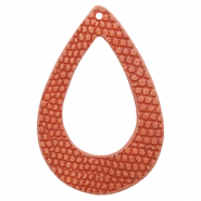 Faux leather pendants drop crocodile Coral Red