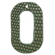 Faux leather pendants oval crocodile Green