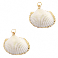 Shell pendant specials Cockles White Beige-Gold