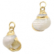 Shell pendant specials Whelks Pearl Cream White-Gold
