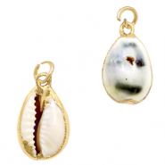 Shell pendant specials Cowrie Off White Brown-Gold