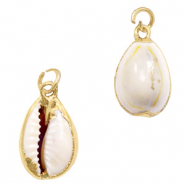 Shell pendant specials Cowrie Cream Yellow-Gold