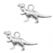 Metal charms dino Antique Silver (nickel free)